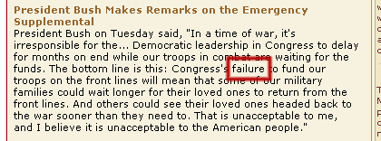 Failure on president of USA website