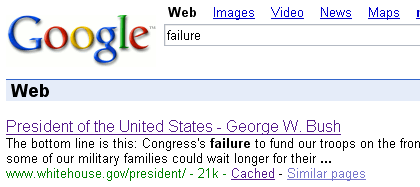 Failure in Google SERPs