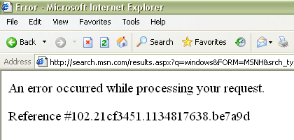 search.MSN Error